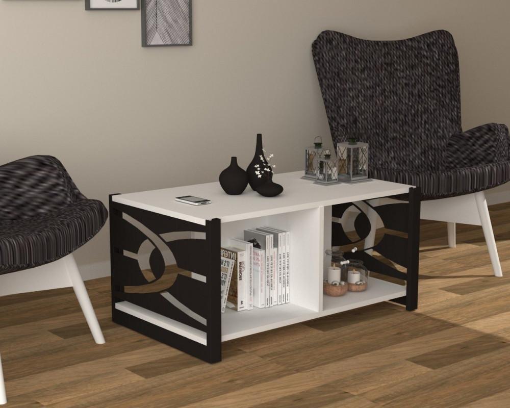 مواسم طاولة بيضاء بأرجل سوداء مزودة برفوف لتخزين المتعلقات المختلفة