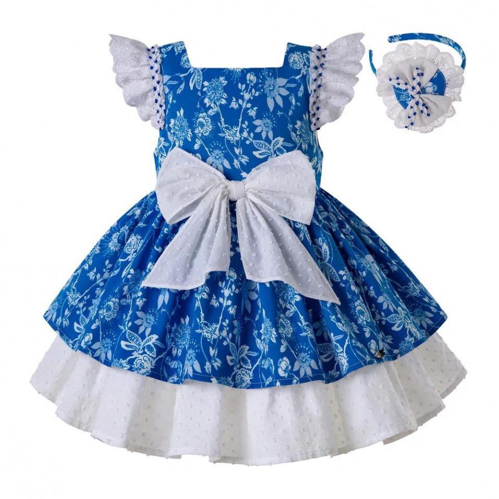 فستان بيبي ازرق بفيونكا كبيره