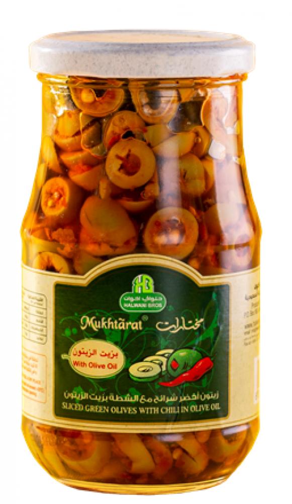 زيتون أخضر شرائح بالشطة 650 جرام Sliced Green Olives chili