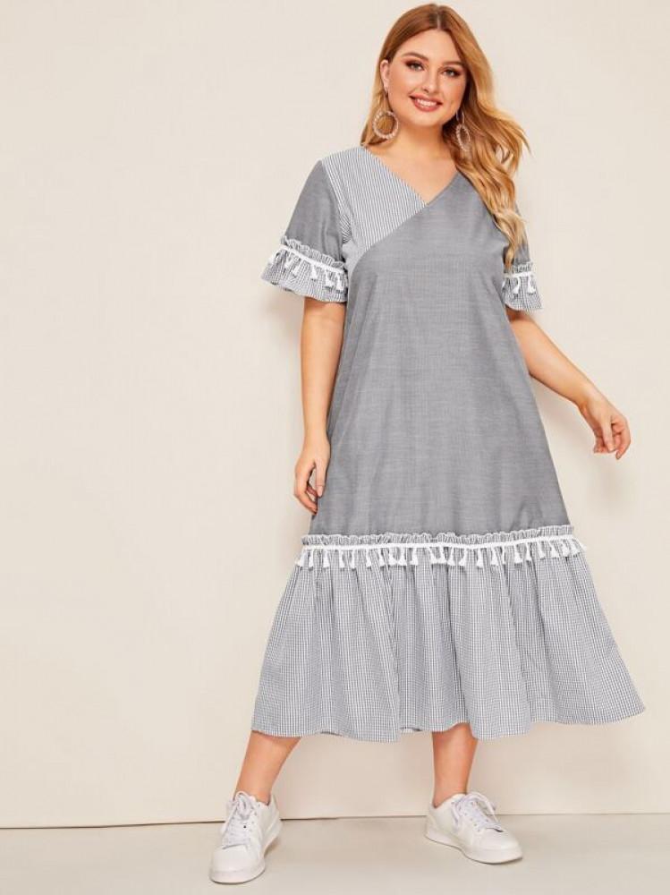 فستان مقاس كبير رمادي