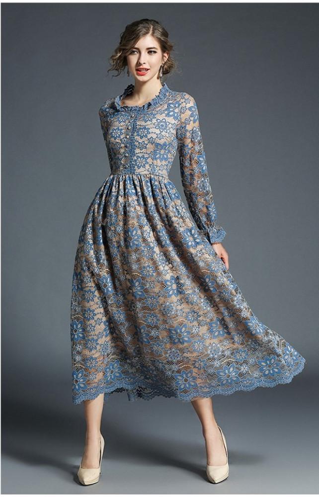 فستان دانتيل كم طويل