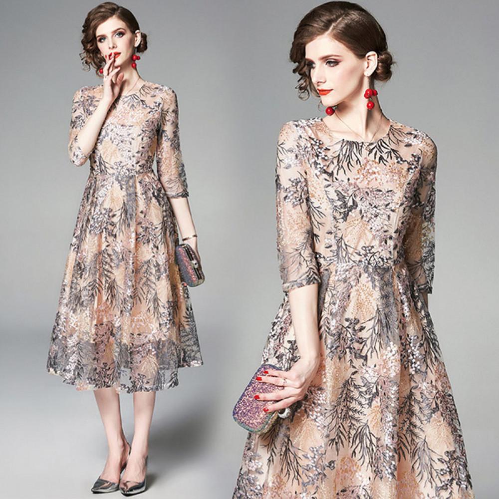 فستان شيفون منقوش