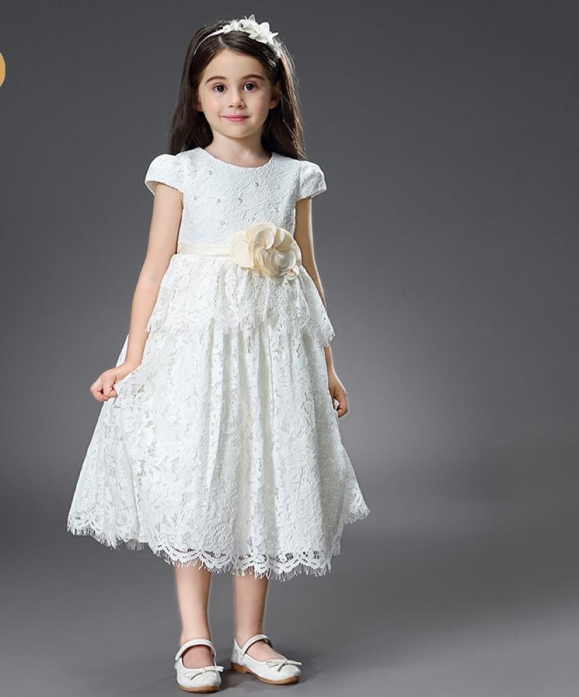 فستان دانتيل اطفال ابيض