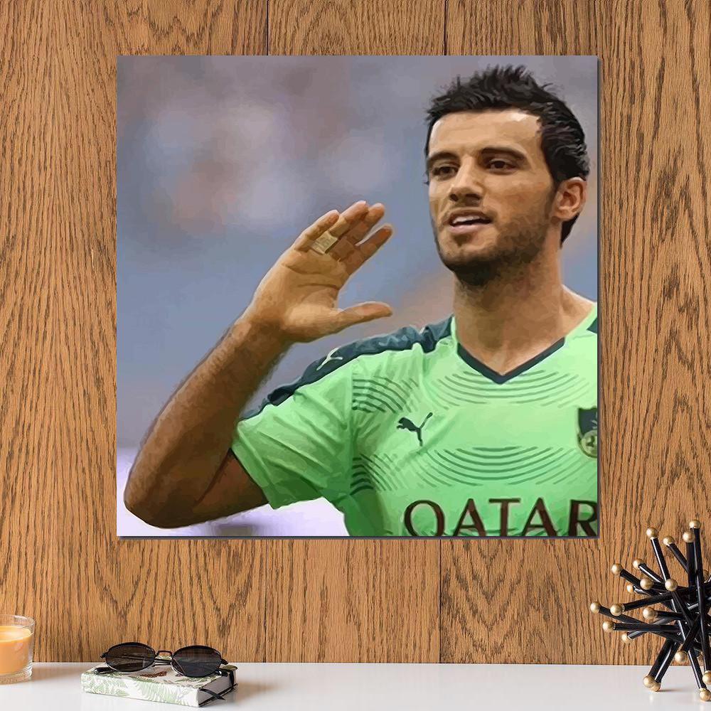 لوحة لاعب نادي الأهلي عمر السومة خشب ام دي اف مقاس 30x30 سنتيمتر