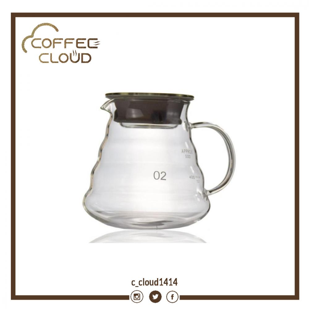 ابريق تقديم القهوة زجاجي V60 سعة 600 مل متجر كوفي كلاود محامص ادوات