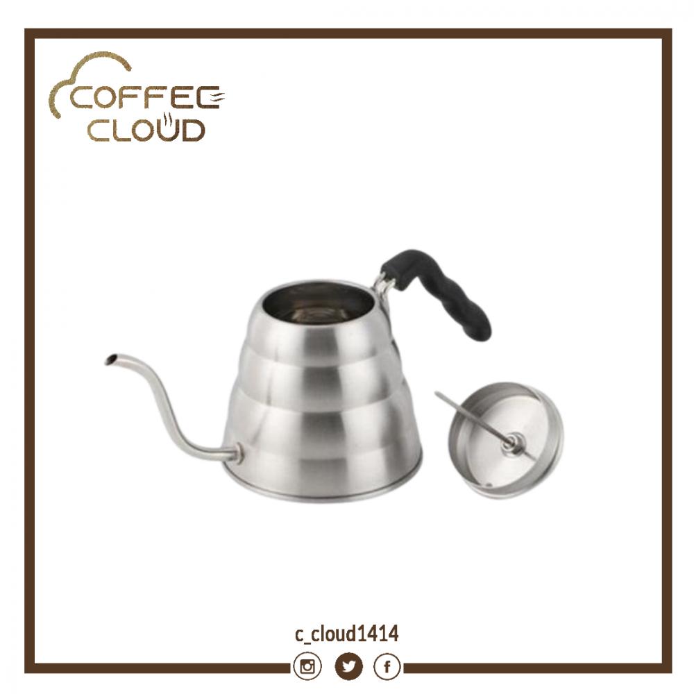 ابريق تقطير فضي سعة 1200 مل مع مقياس حرارة متجر كوفي كلاود محامص قهوة