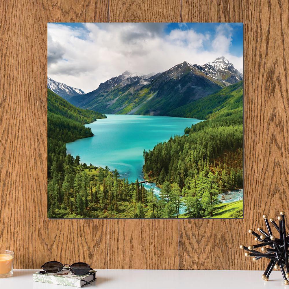 لوحة منظر طبيعي , بحيرة خشب ام دي اف مقاس 30x30 سنتيمتر