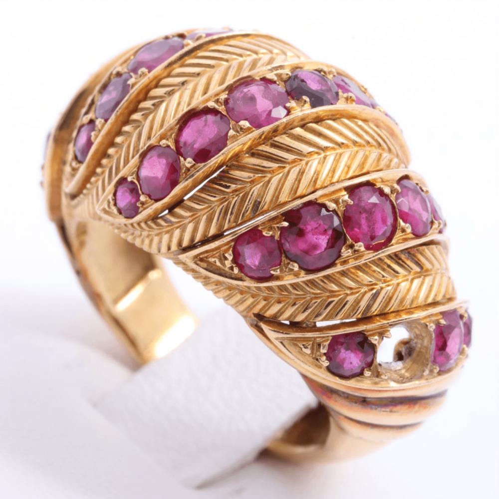 خاتم شوميه روبي مع ذهب أصفر الأصلي