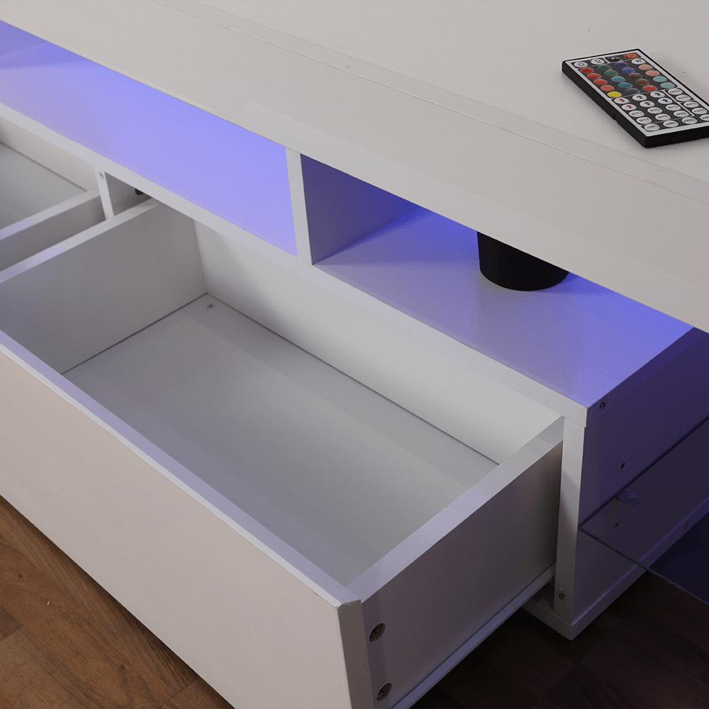 أدراج طاولة تلفاز خشبية موديل حديث برفوف زجاجية لون أبيض مضيئة مواسم