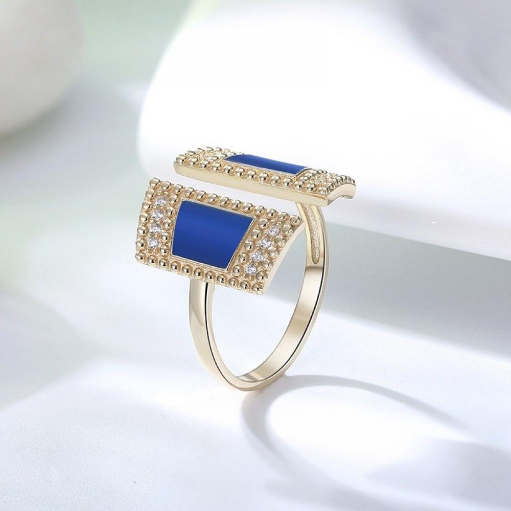 خاتم فضة مطلي ذهب فري سايز بحجر ازرق وزركون