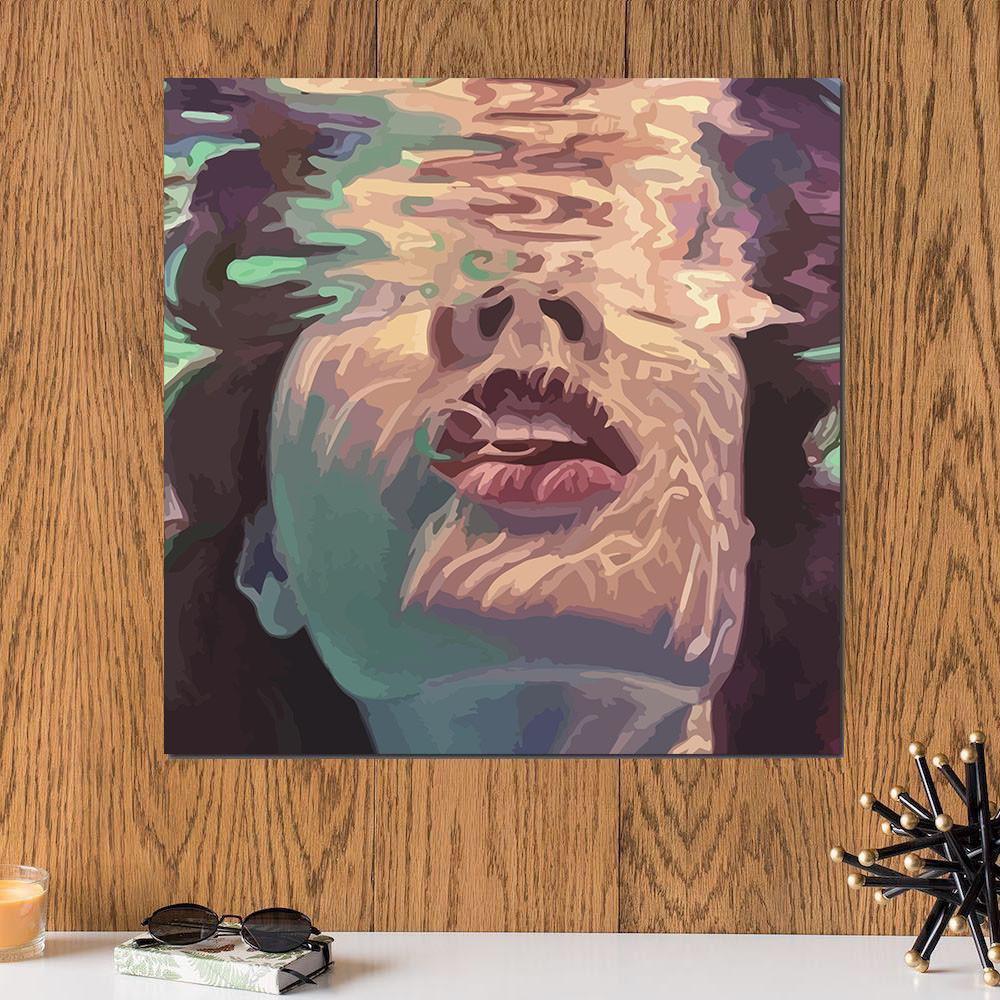 لوحة فتاة خشب ام دي اف مقاس 30x30 سنتيمتر
