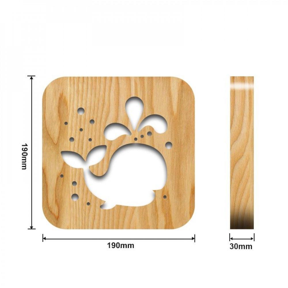 تحفة شكل الحوت مضيئة خشبية من مواسم القياسات التفصيلية للتحفة