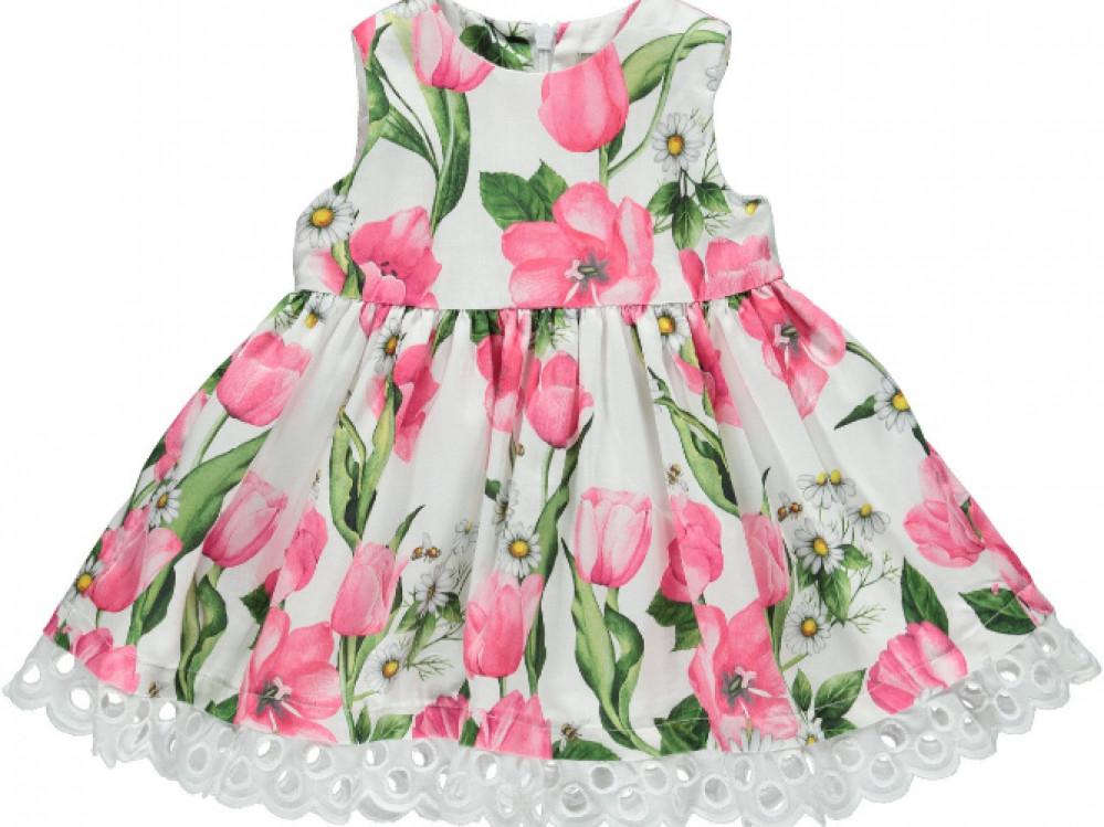 فستان انيق مزين بالازهار باللون الوردي ماركة Piccola Speranza من دوها