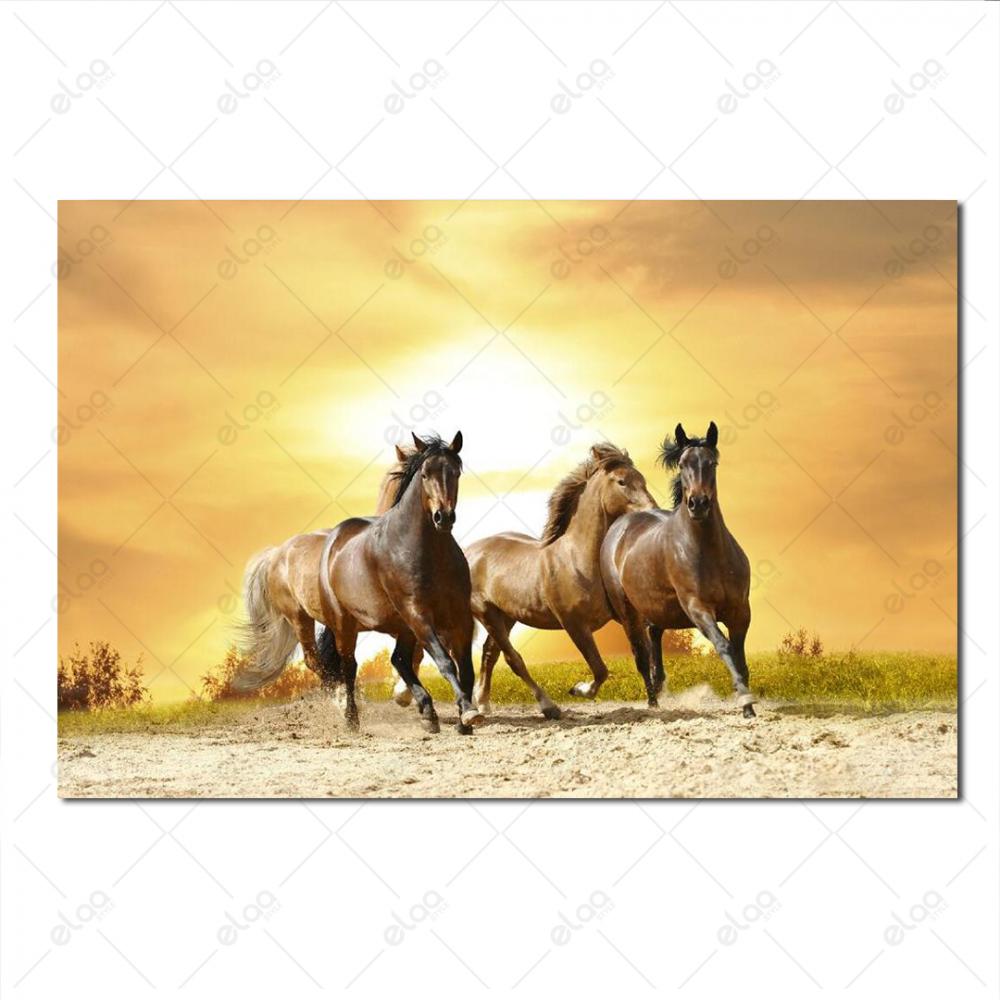 لوحة فنية لمنظر طبيعي لمجموعة من الخيول باللون البني بخلفية درجات البن
