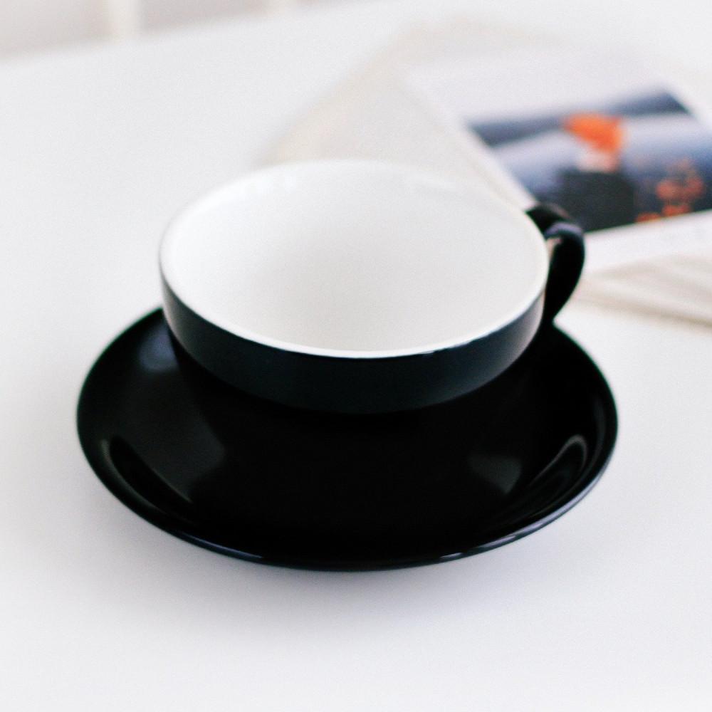 كوب سيراميك لاتيه مع صحن أكواب قهوة أسود خزف كوب متجر هدايا ركن القهوة