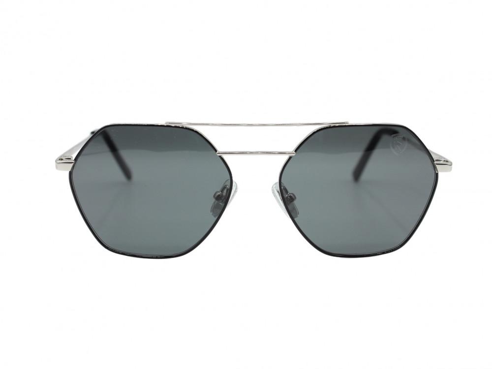 نظارة شمسية  سداسية من ماركة TROY اللون اسود و فضي رجالية اطلاله جذابه