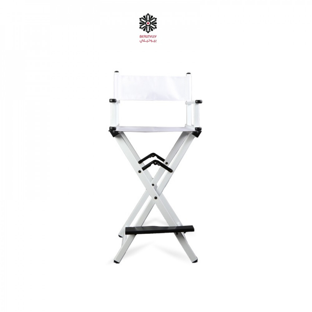 ككرسي مكياج متنقل أبيض مع قماش أبيض