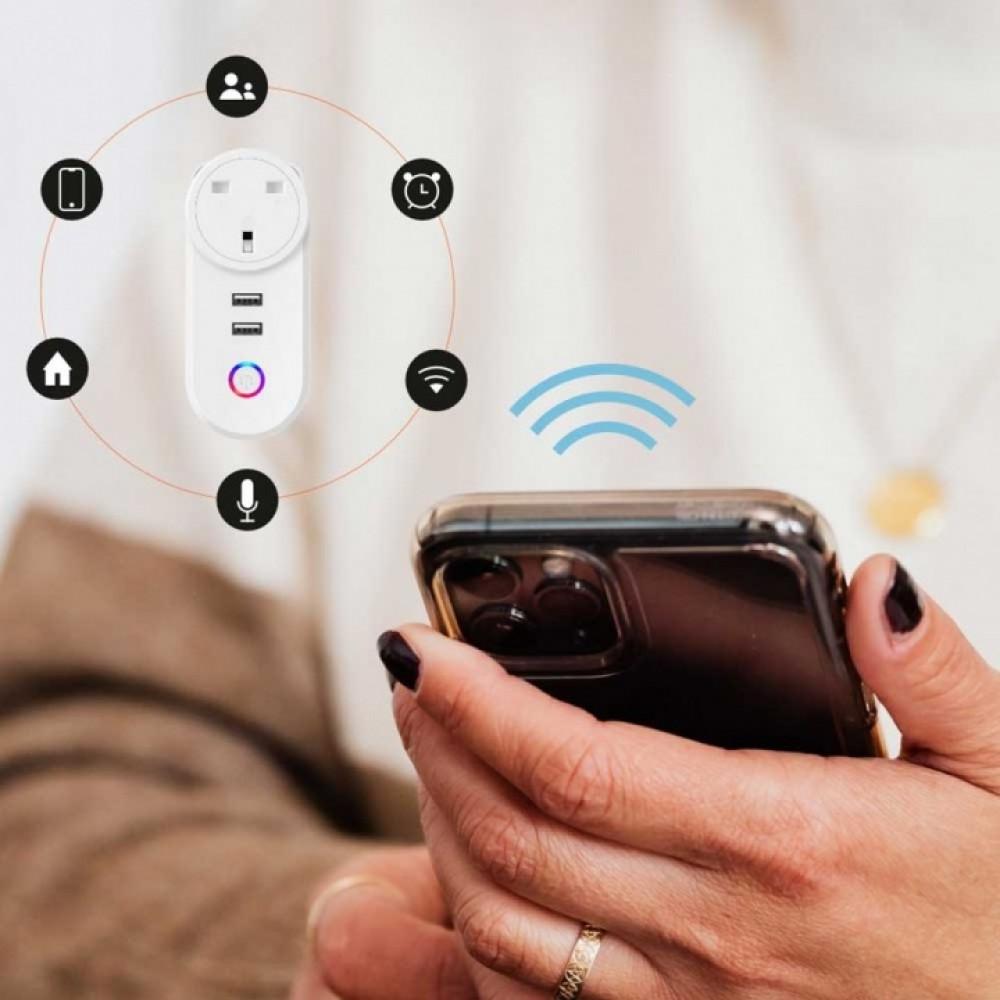 Smart Wifi Plug with Dual USB Charge Porodo