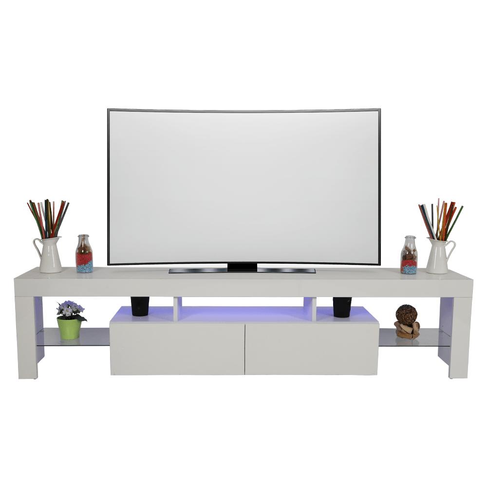 مواسم للأثاث المنزلي لديه طاولة تلفاز خشبية موديل حديث برفوف زجاجية