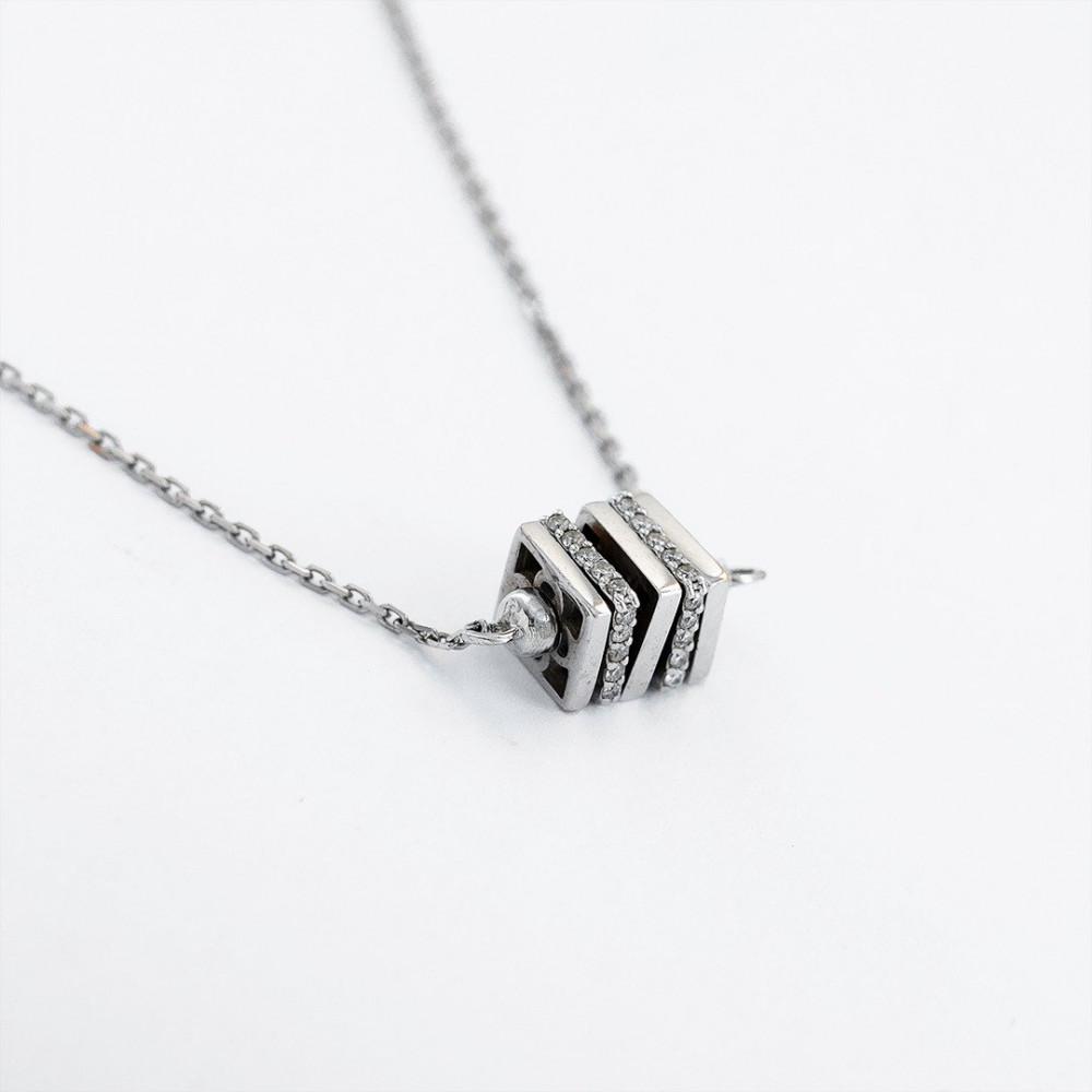 سلسال ذهب أبيض مع الماس