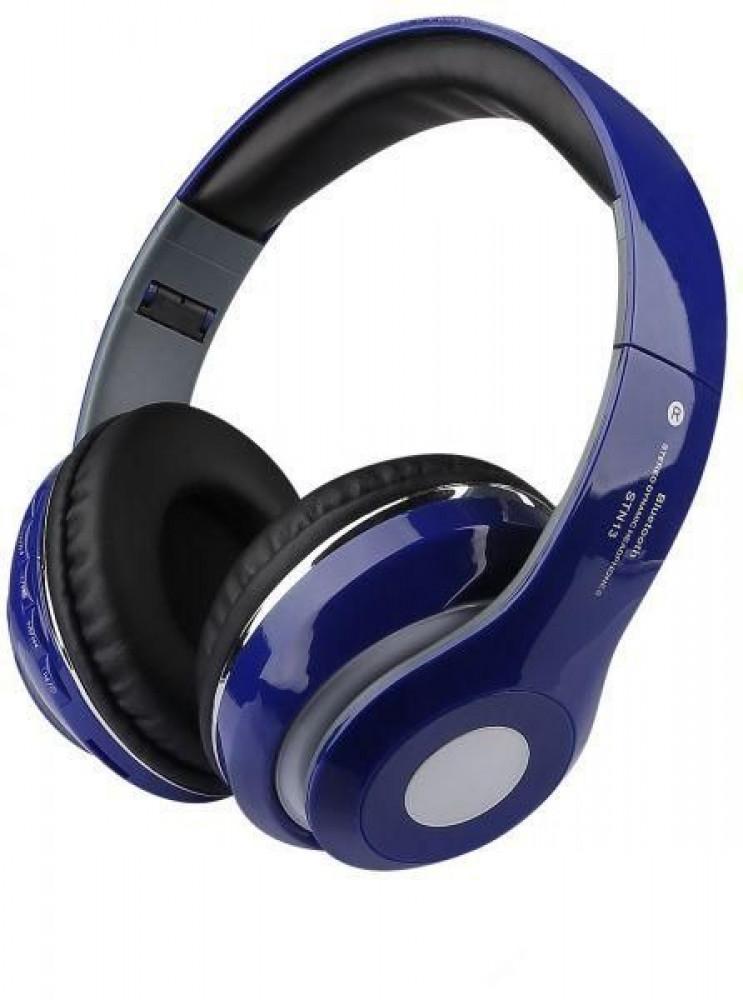 سماعات بلوتوث لاسلكية قابلة للطي موديل STN13 ازرق