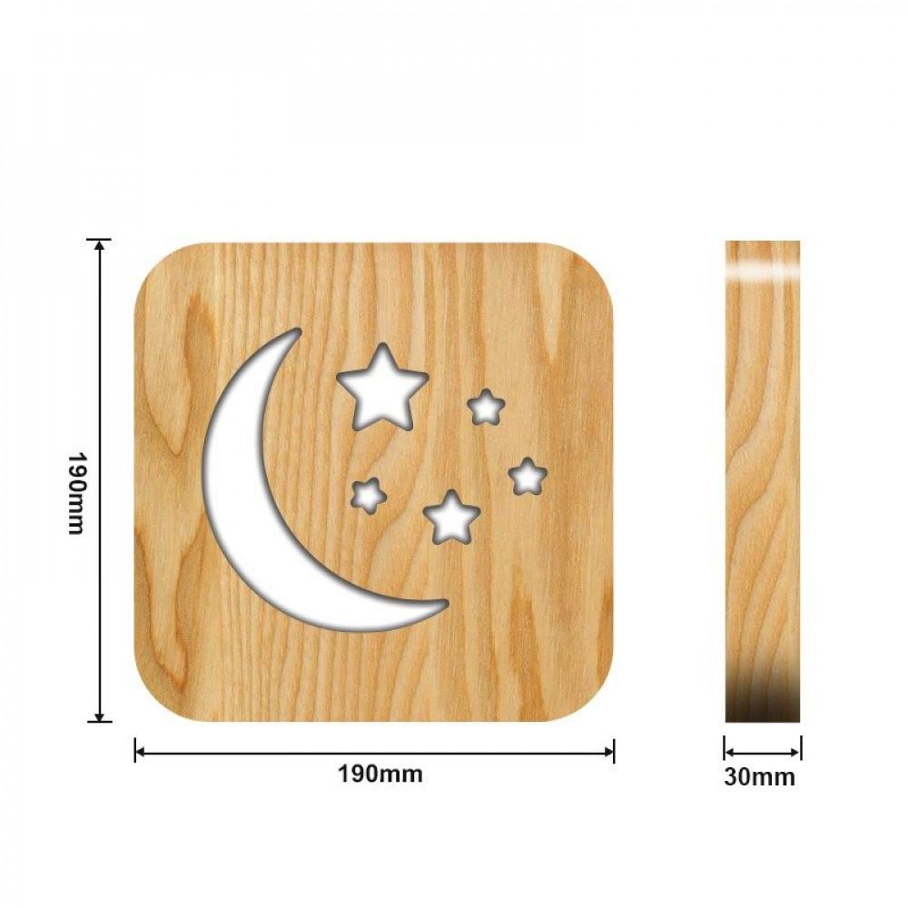 تحفة فنية خشبية على شكل هلال من متجر مواسم  القياسات التفصيلية للتحفة