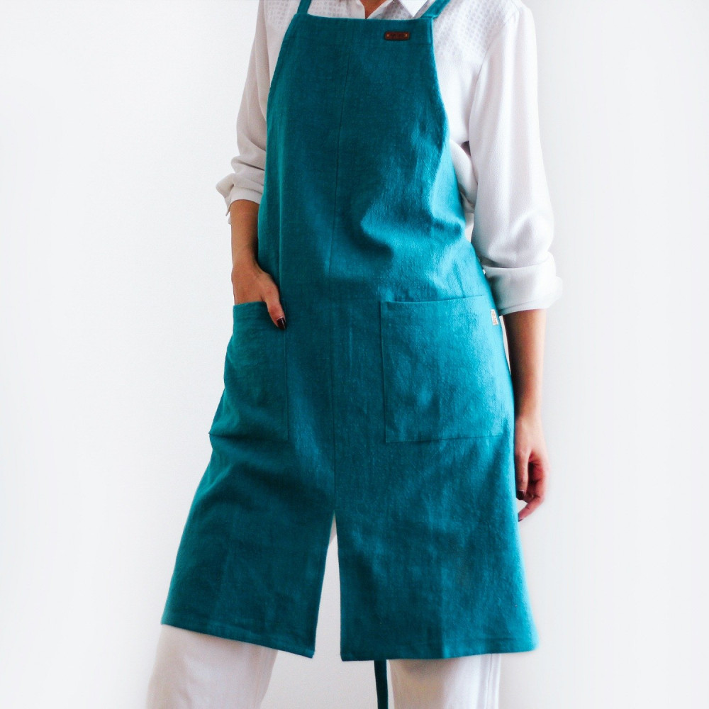 مريلة طبخ مريلة مطبخ لون أزرق مريلة باريستا أدوات الباريستا مرايل متجر