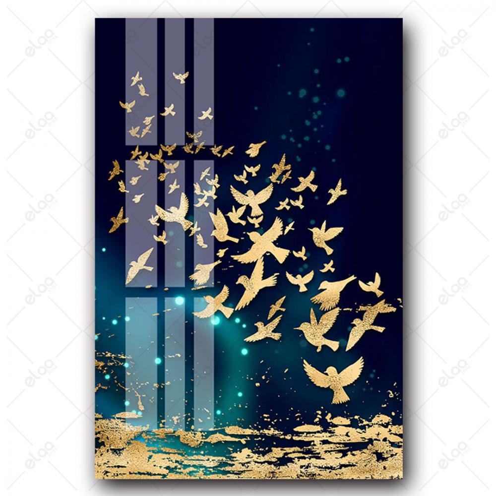 لوحات فن تجريدي للاسماك الضينية والفراش باللون الذهبي بخلفية درجات الل