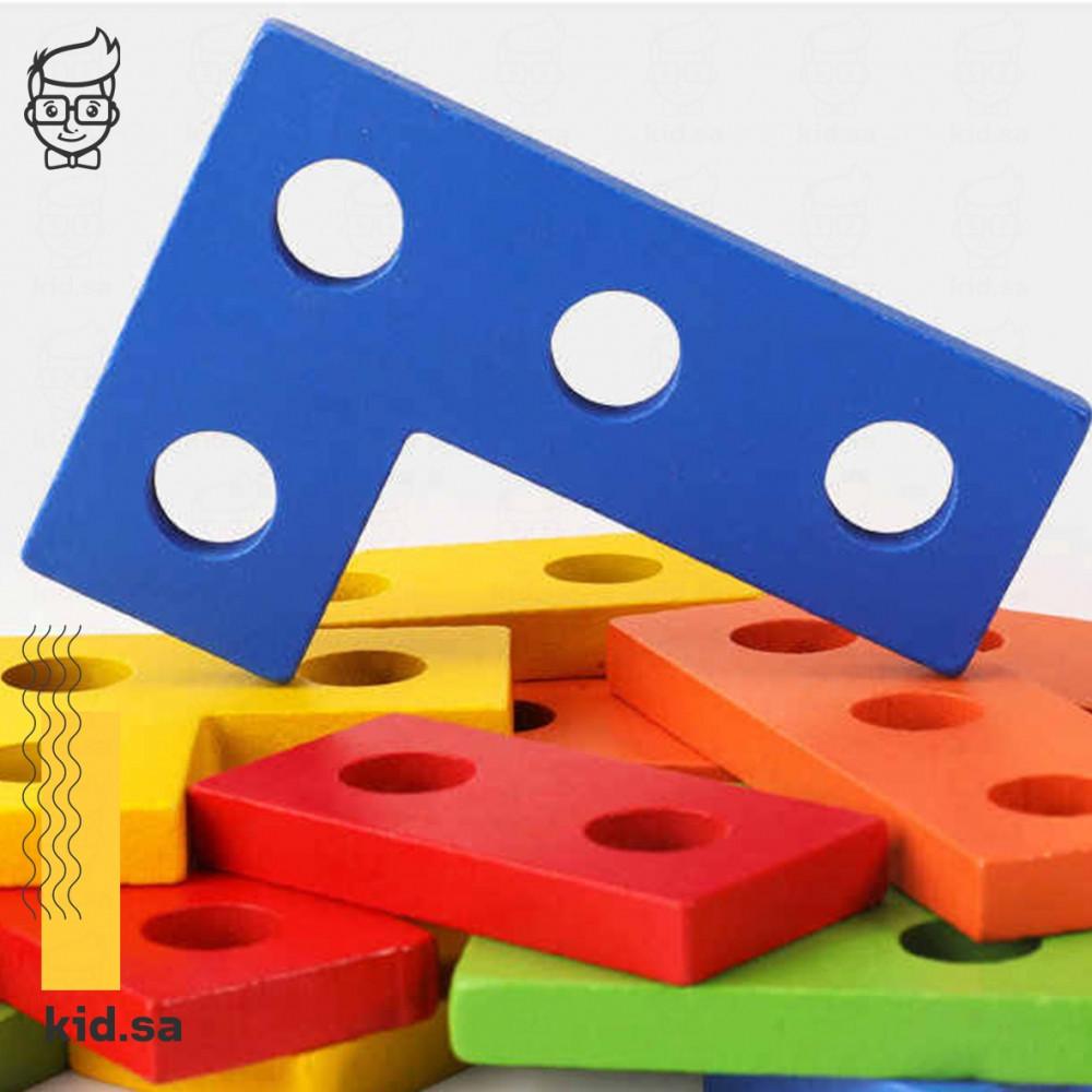 لعبة تركيب الخشب الملون لتزيادة الذكاء للطفل