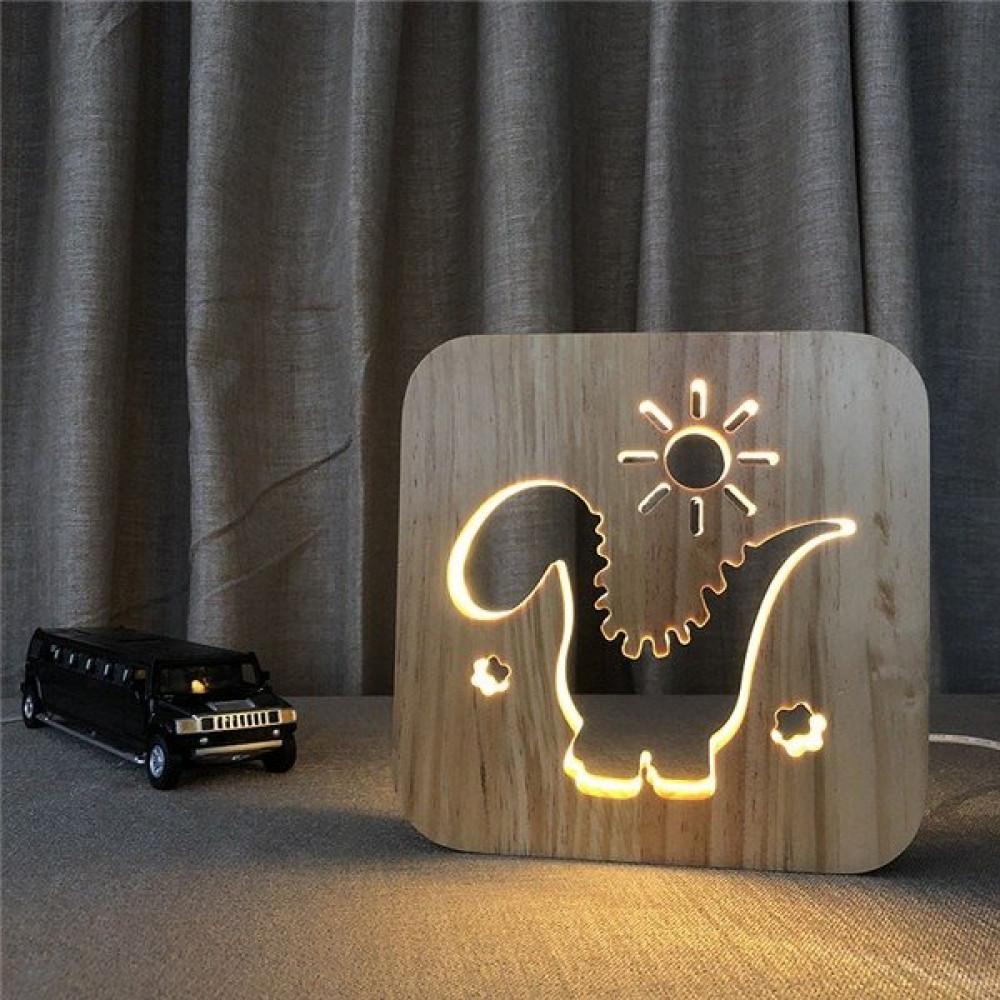 مواسم تحفة فنية خشبية إضاءة ليد على شكل ديناصور ومزينة بالشمس