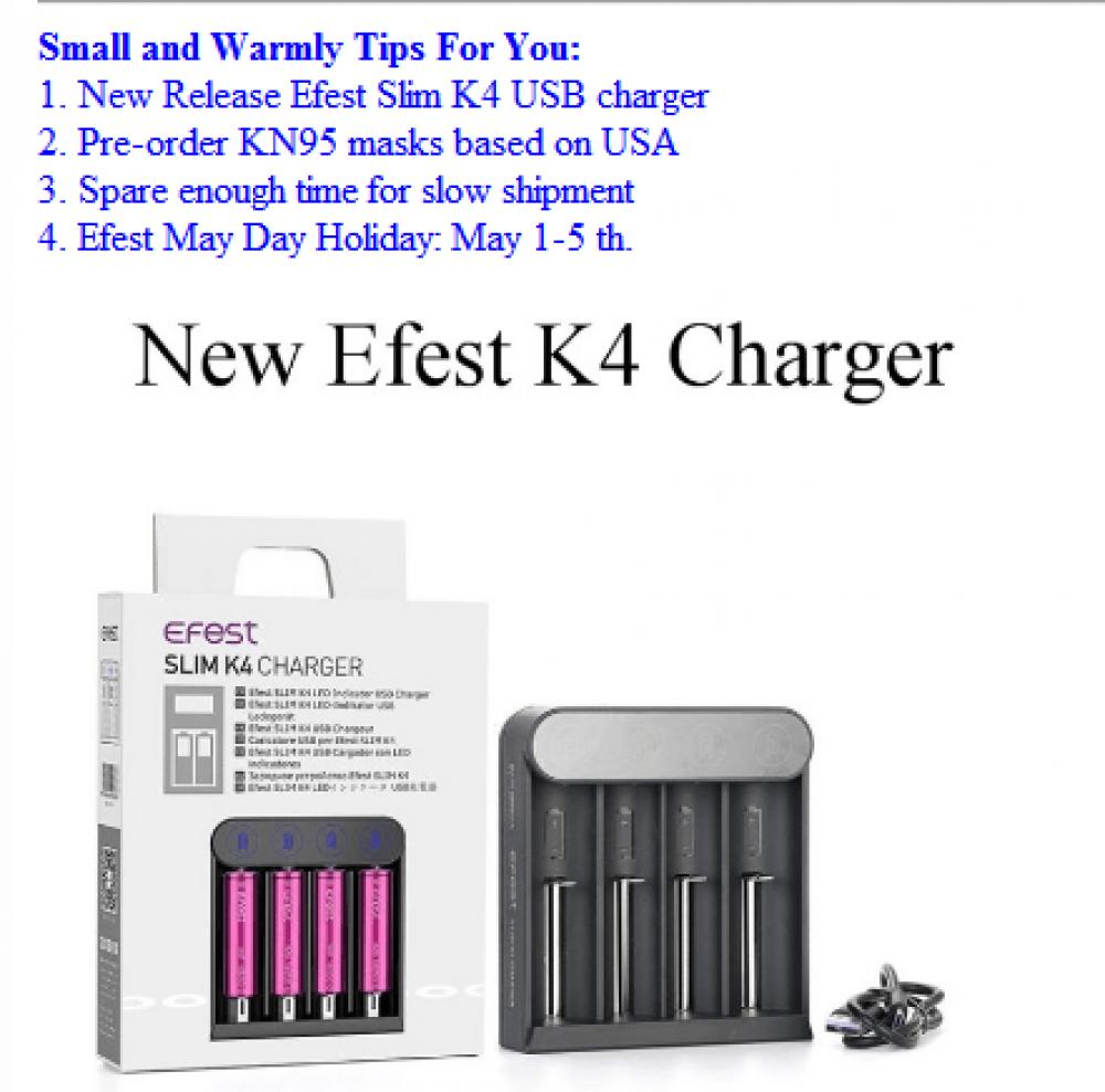 شاحن بطاريات ايفست - Efest Slim K4 Charger