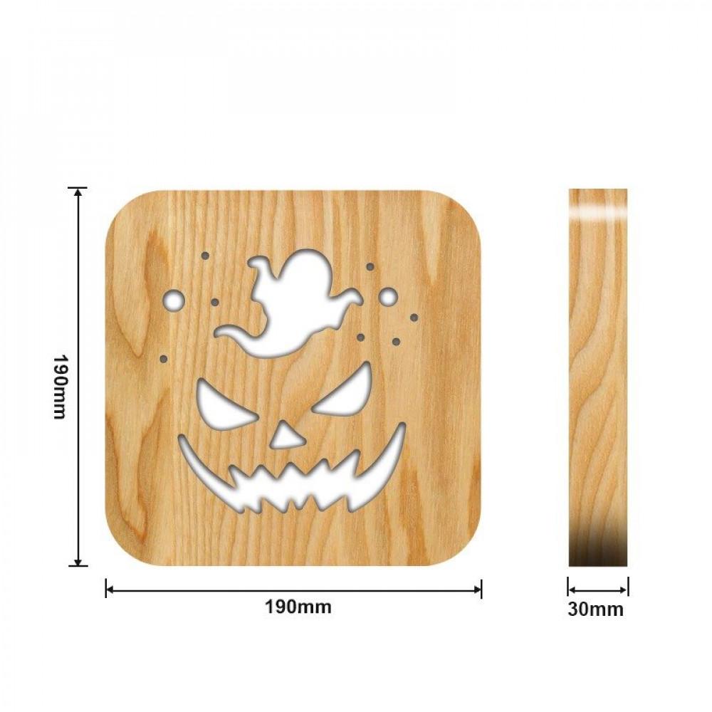 مواسم تحفة شكل اليقطينة مضيئة خشبية القياسات التفصيلية للقاعدة والقطعة