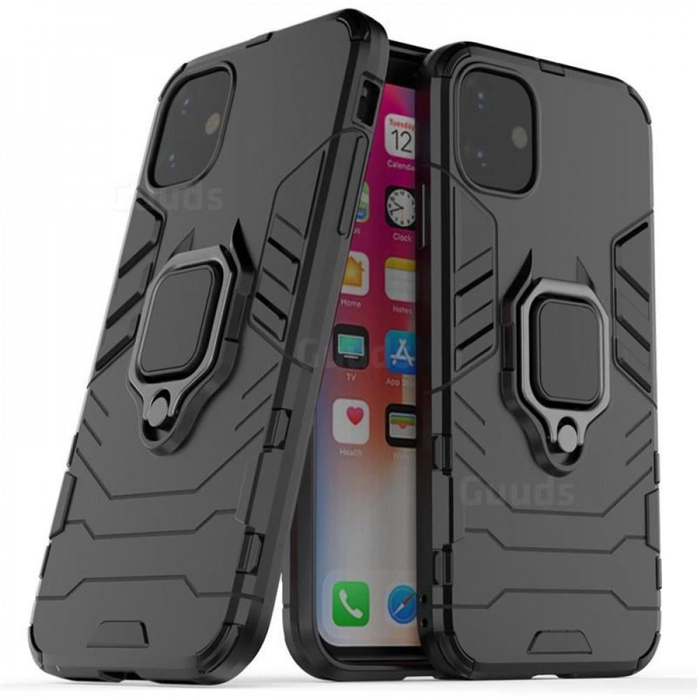 غطاء حماية اسود اللون عالي الجودة مع حامل ومغناطيس لجهاز Iphone 11