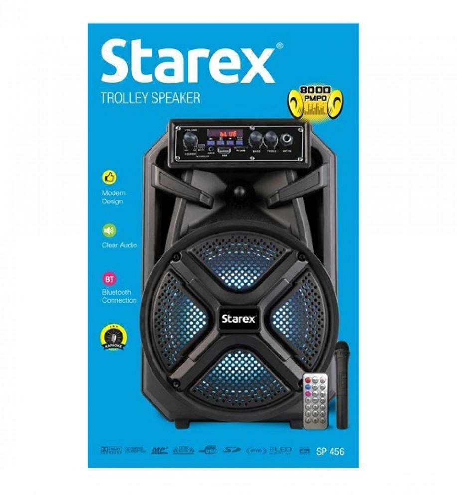 مكبر صوت ستاركس 8 انش متحرك اضائه LED بلوتوث مع ريموت Starex SP 456