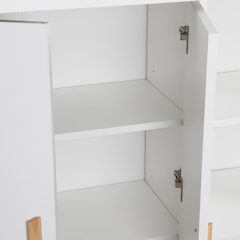دولاب تخزين خشب أبيض بأرفف داخلية وخارجية ودرج سحاب موديل بريمن مميز