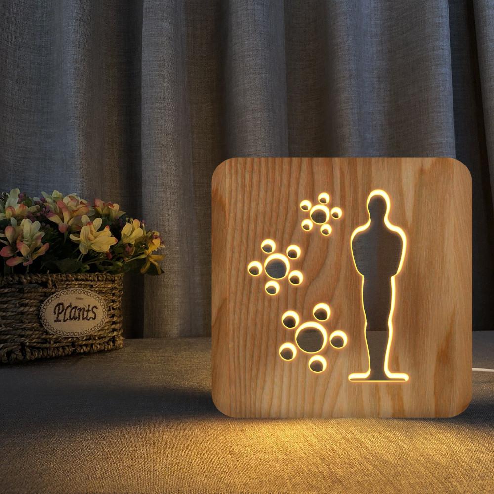 مواسم تحفة شكل أوسكار مضيئة خشبية ذات تصميم  إبداعي راقي ومميز  جدا