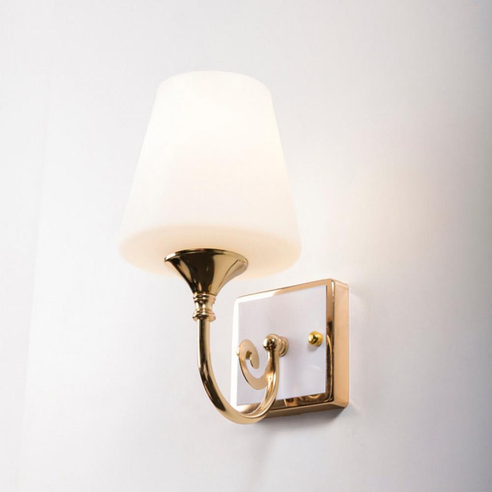 اضاءة جدران داخلية كلاسيكة ذهبية زجاج مطفي مفرد - فانوس