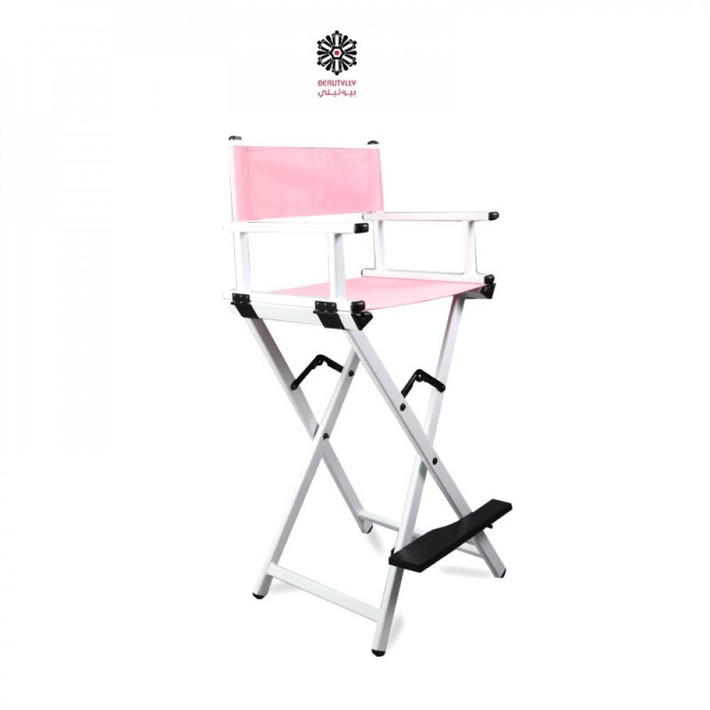 كرسي مكياج متنقل أبيض مع قماش وردي فاتح