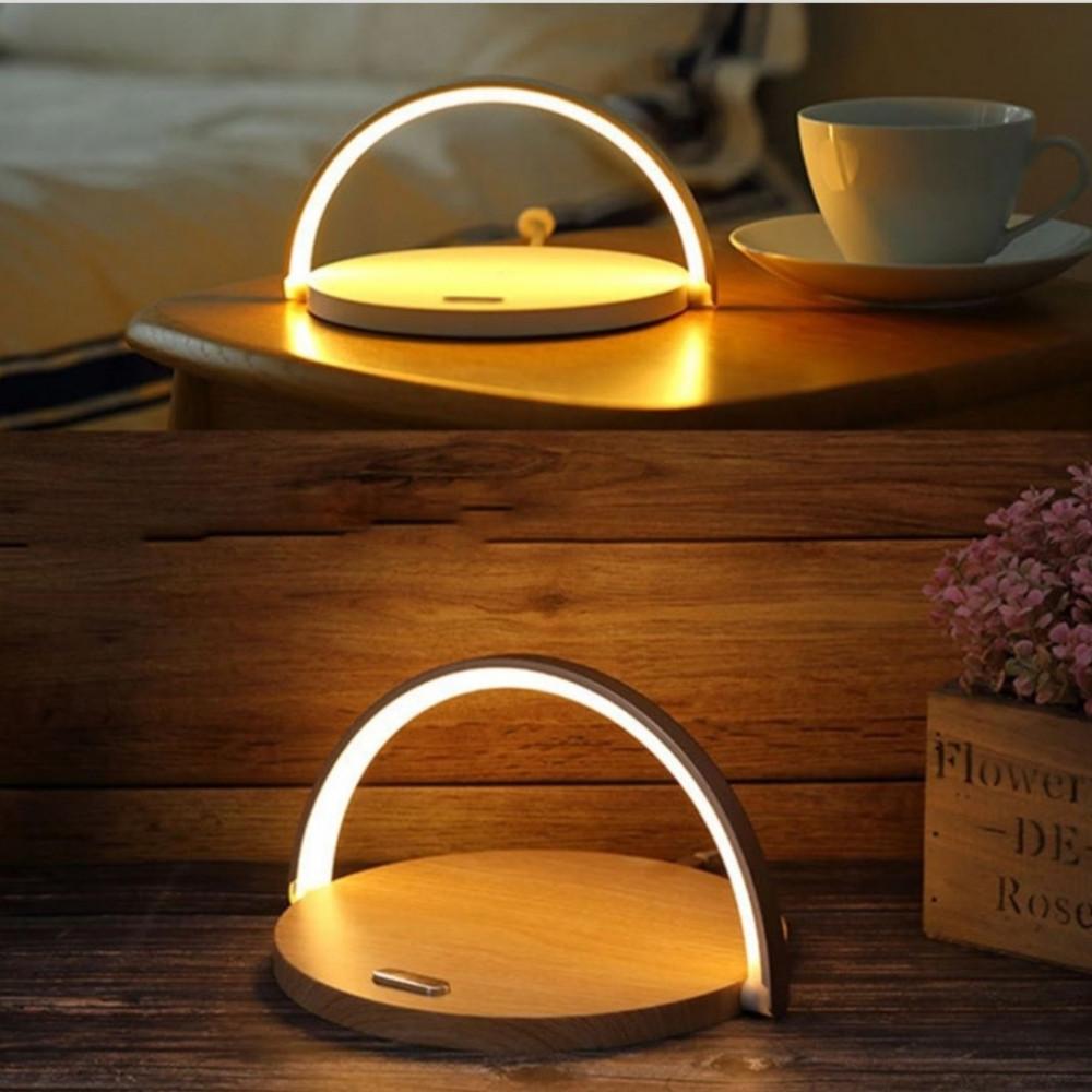 مصباح إضاءة طاولة مع شاحن وايرلس بشكل أبجورة أنيقة وخفيفة أشكال ستور