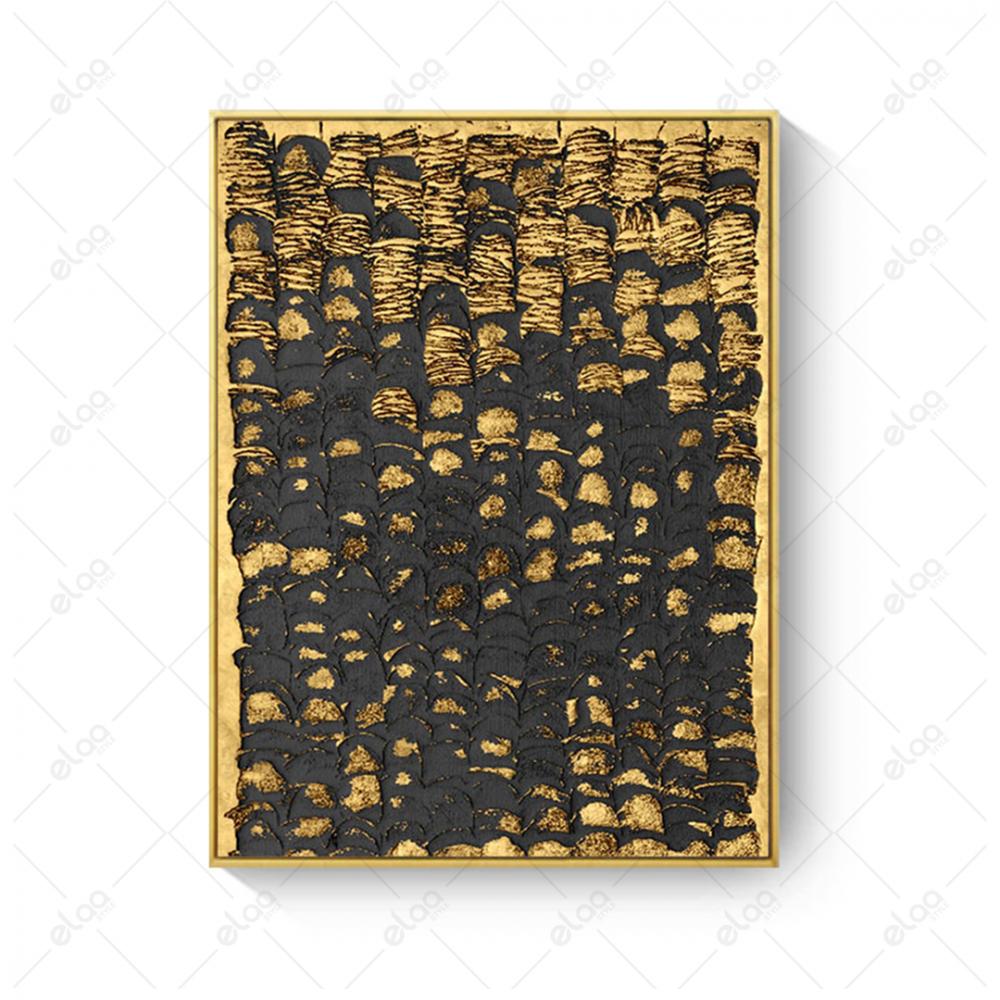 لوحة جدارية فن تجريدي ذهبي ورمادي