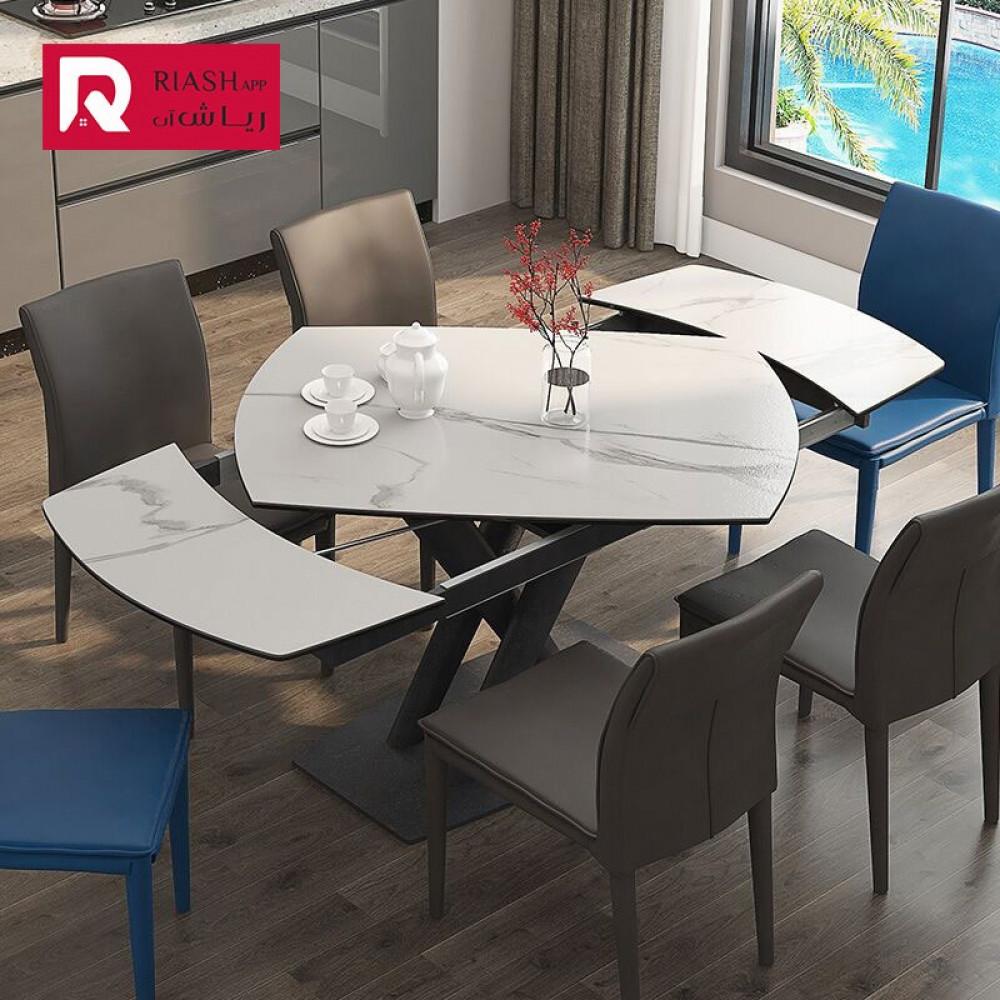 طاولة طعام قابلة لتمدد سطح رخامي اثاث رياش اب