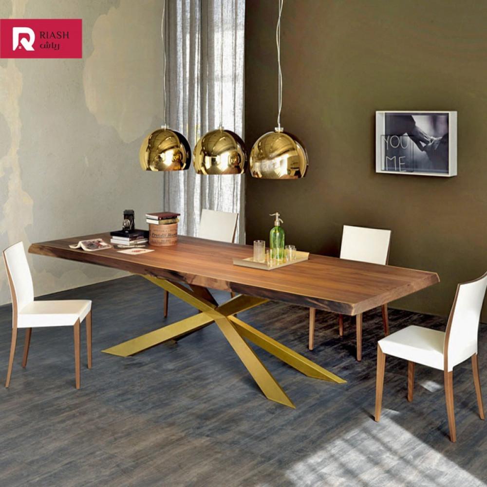 طاولة طعام سطح خشبي اثاث رياش اب غرفة طعام