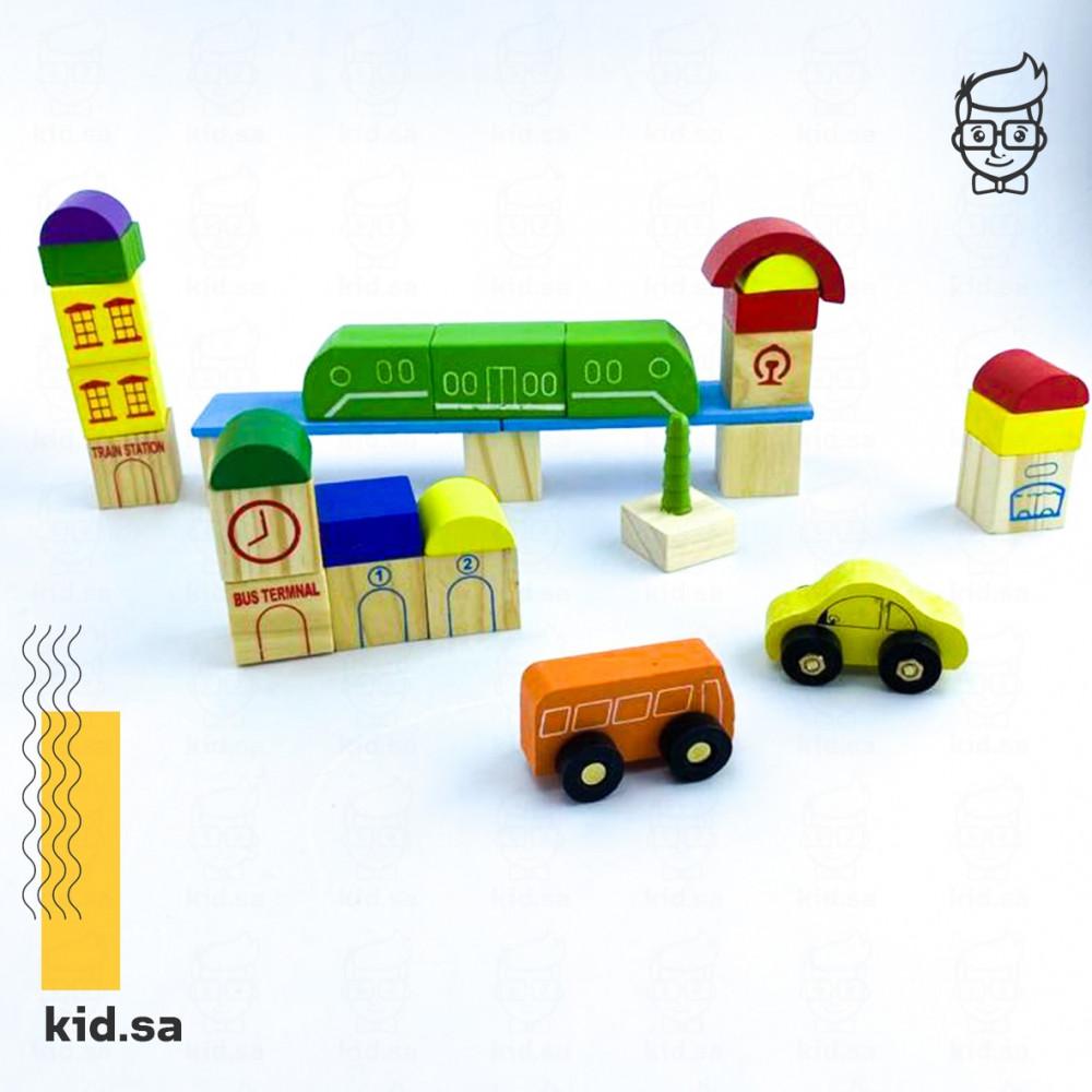 العاب سيارات للاطفال الصغار ملونة خشبية