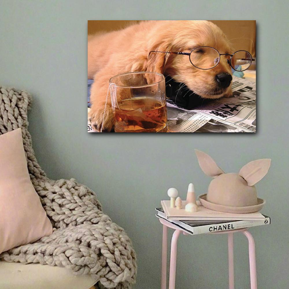 لوحة الكلب الكيوت خشب ام دي اف مقاس 40x60 سنتيمتر