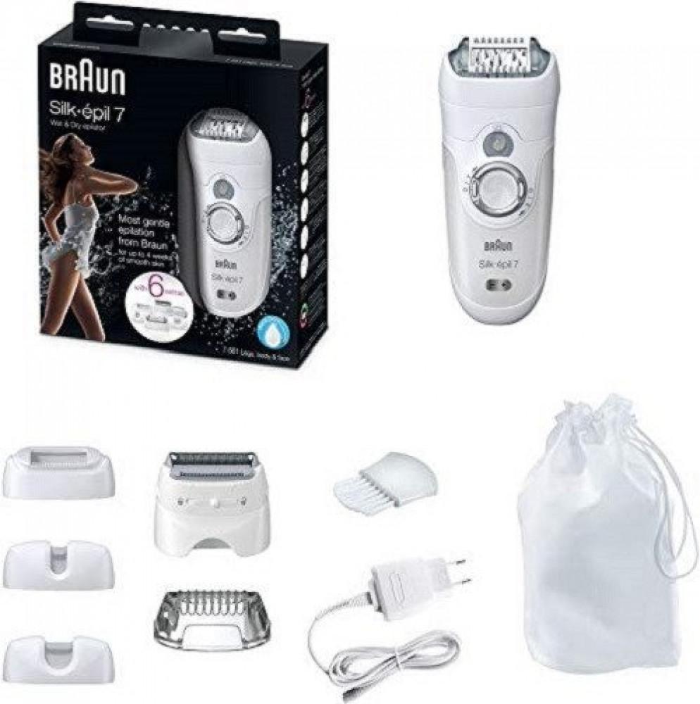 براون سيلك ابيل 7 اللاسلكية ماكينة لإزالة الشعر الجاف والرطب مع 8 إضاف