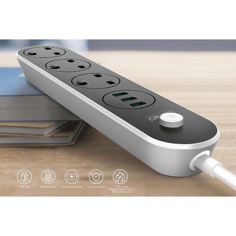 لدنيو توصيلة كهربائية 3 افياش مع 3 مداخل USB للشحن