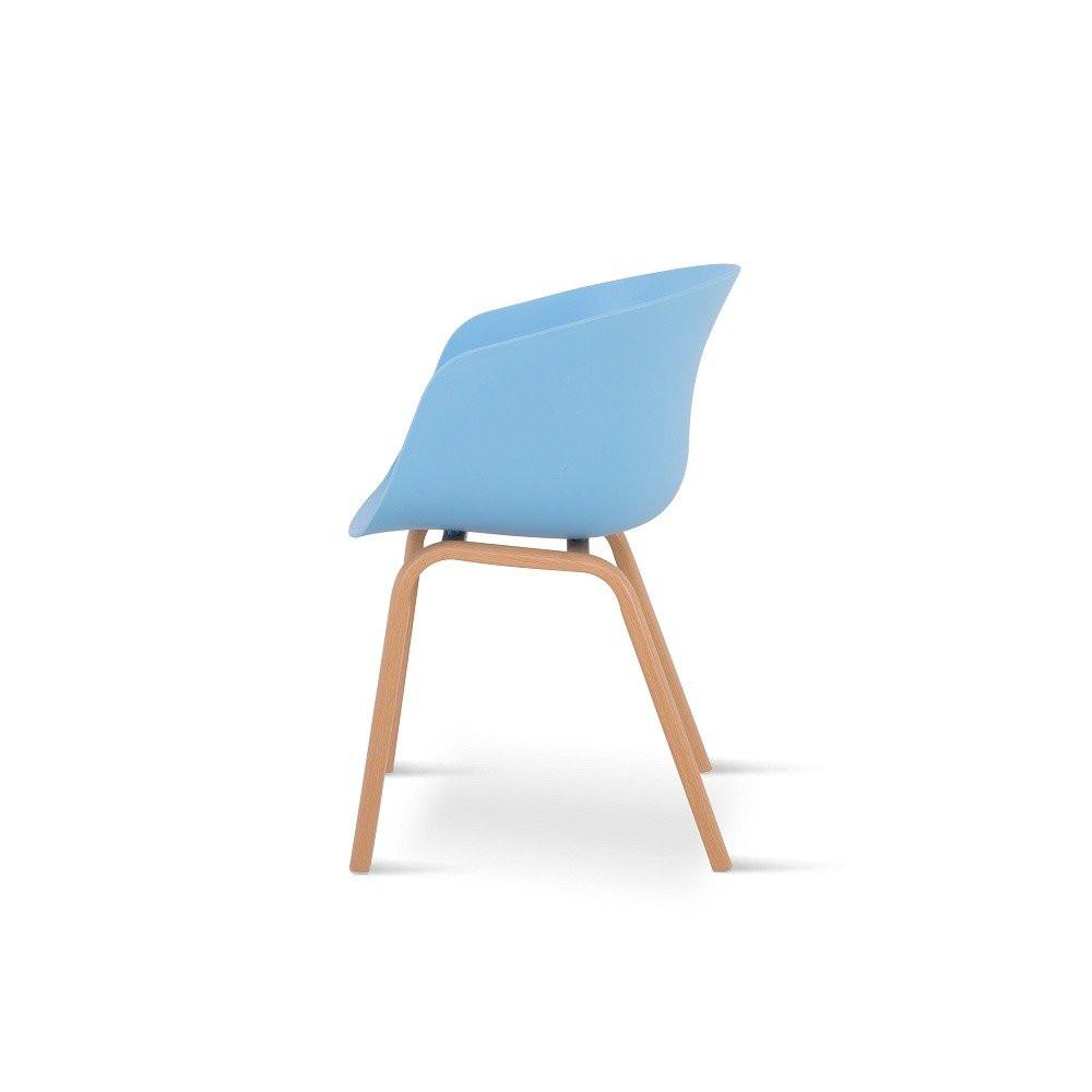 رؤية جانبية للكرسي من طقم كراسي 4 قطع لون أزرق في تجارة بلا حدود