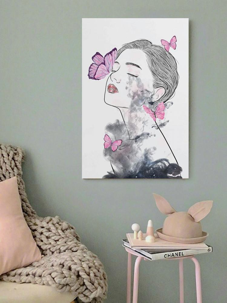 لوحة المرأة والفراشات خشب ام دي اف مقاس 40x60 سنتيمتر