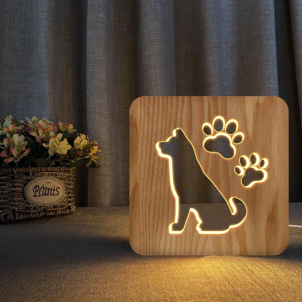 مواسم تحفة فنية مضيئة باللون الخشبي الأنيق بتصميم ثلاثي الأبعاد