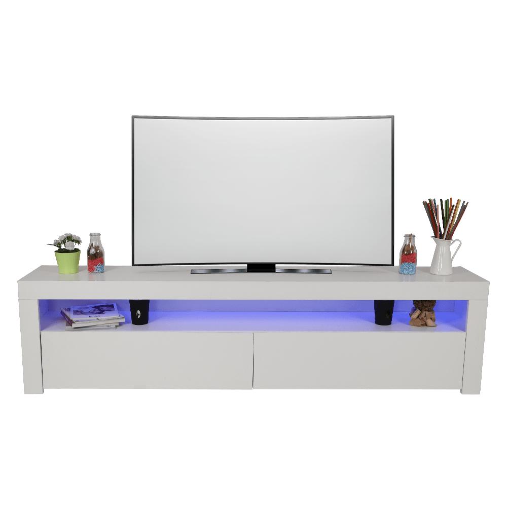 تجارة بلا حدود يقدم طاولة تلفاز خشبية لون أبيض بسطحين وخزانتين ليد